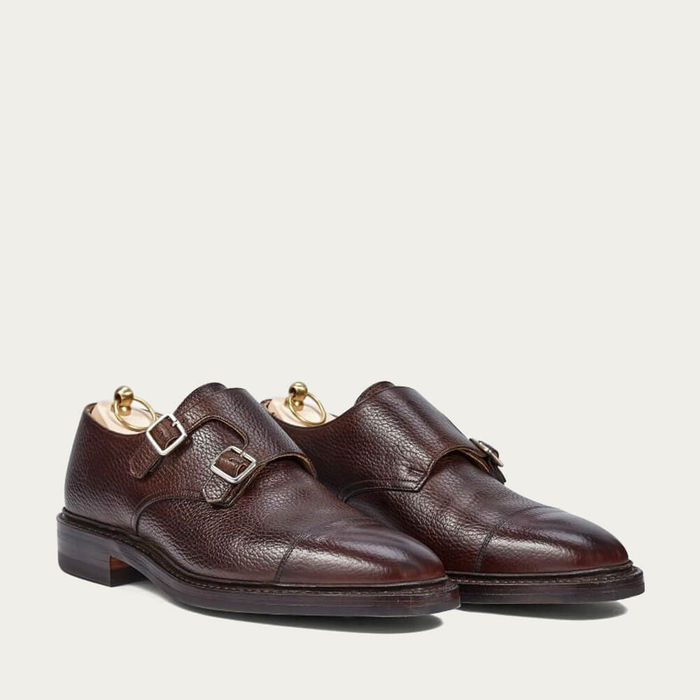 Dark Brown Grain Leather Double Monk Shoes With Dainite Sole | Bombinate