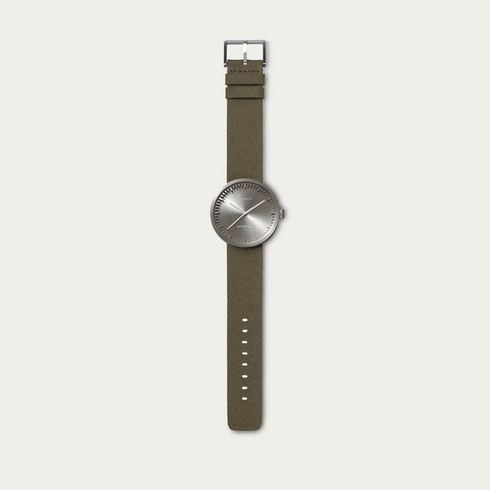 Steel with Green Cordura-Leather Strap Tube Watch D Series | Bombinate