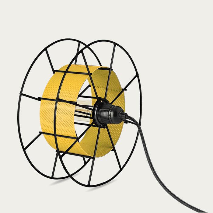 Yellow Floor Lamp Spool Black | Bombinate