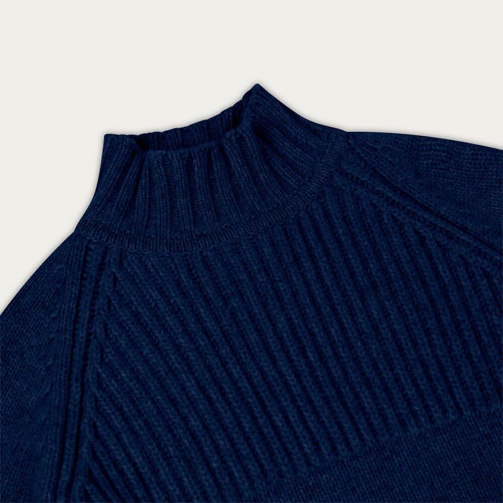 Indigo Blue Nimrod Cashmere Funnel Neck Sweater | Bombinate
