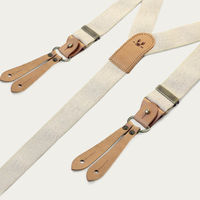 Ecru Selvedge Wide Braces with Natural Leather   Bombinate
