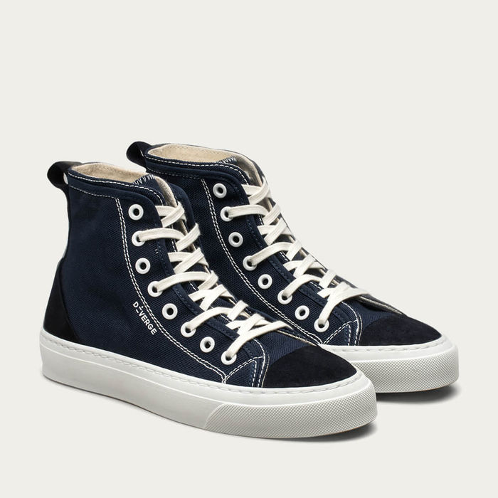 Marine Blue Canvas Twist High | Bombinate
