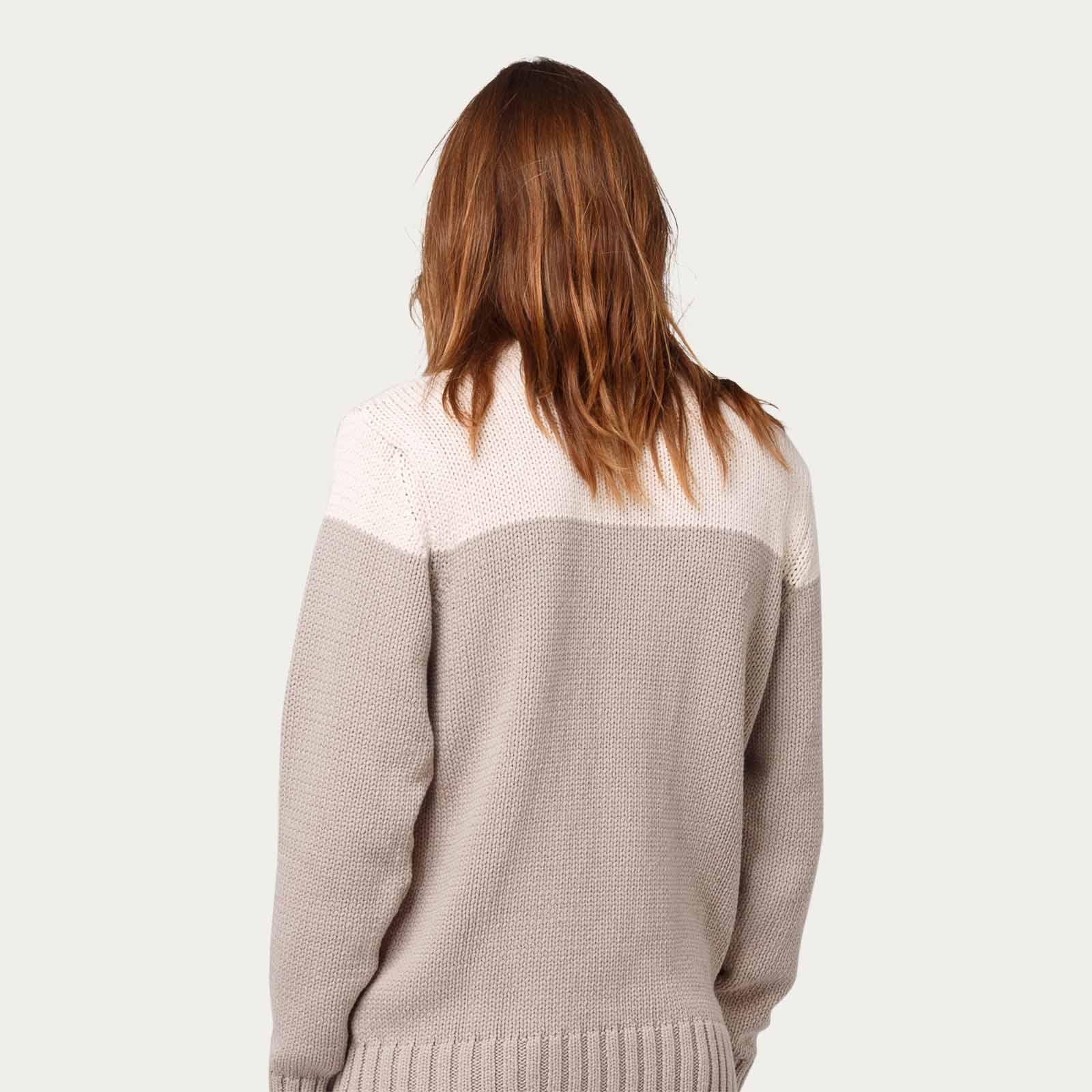 Beige Cotton Colour Block Knit | Bombinate
