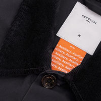 Charcoal Twill With Cord Collar Vincent Button | Bombinate