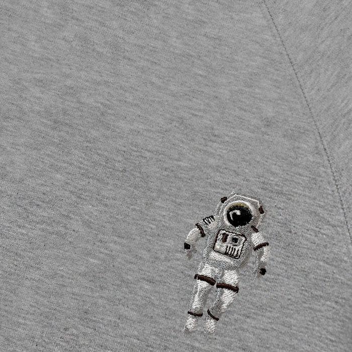 Heather Grey Sweatshirt Spaceman Embroidery | Bombinate
