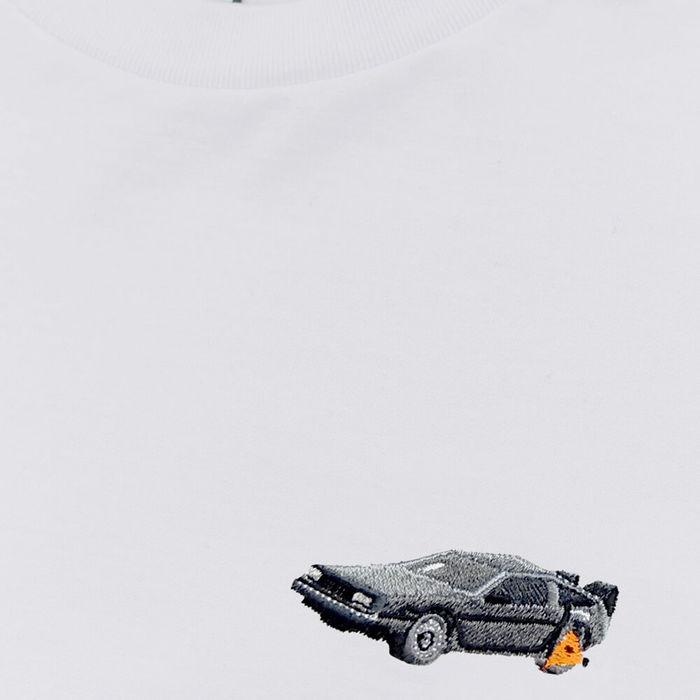 White T shirt Clamped DeLorean | Bombinate