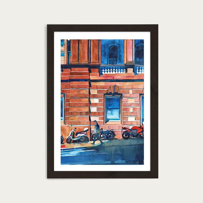 Man on the Street Art Print Black Frame | Bombinate