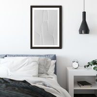 White Textures III - Abstract Shapes Art Print Black Frame | Bombinate