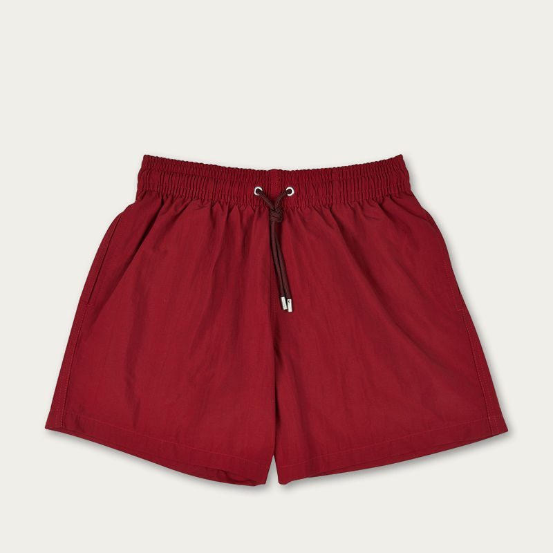 Dark Red Plain Colour Swim Short | Bombinate