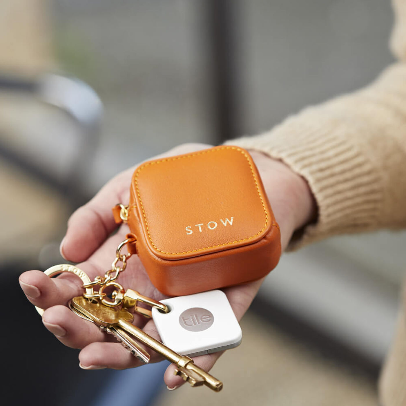 Amber Orange/Soft Sand Clip-On Earphone Case | Bombinate