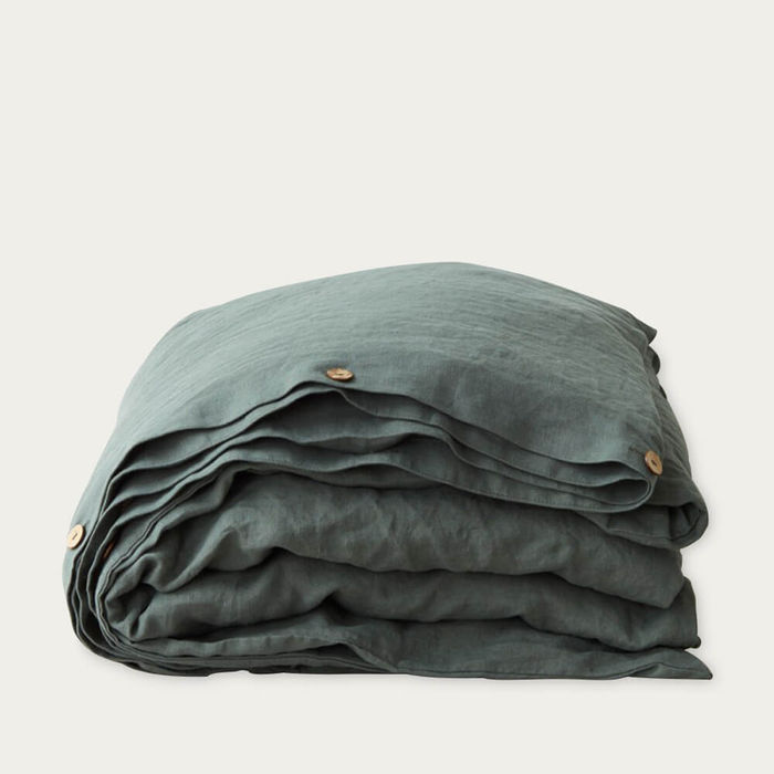 Forest Green Washed Linen Duvet Cover | Bombinate