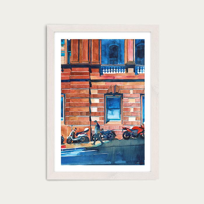 Man on the Street Art Print White Frame | Bombinate