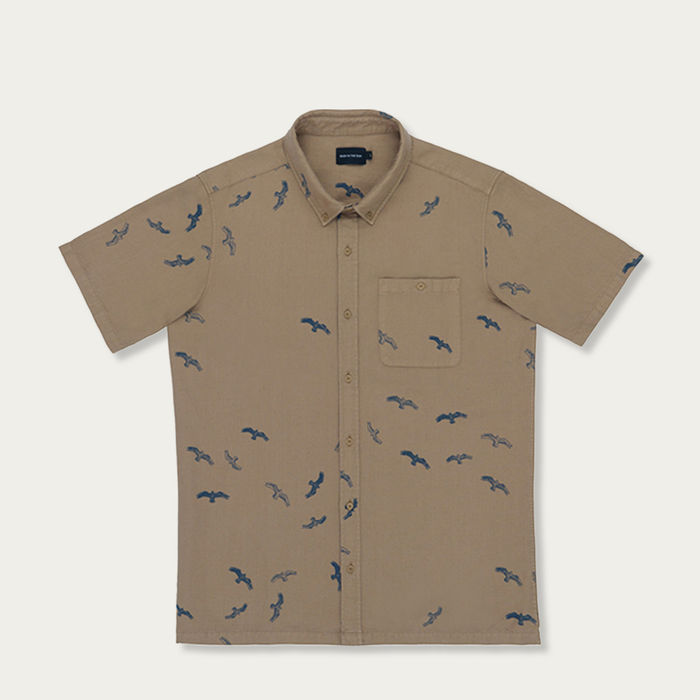 Tobacco Seabirds Cotton Blend Shirt | Bombinate