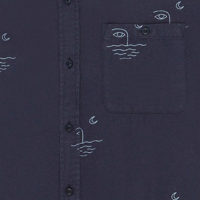 Navy Moon Cotton Blend Shirt | Bombinate