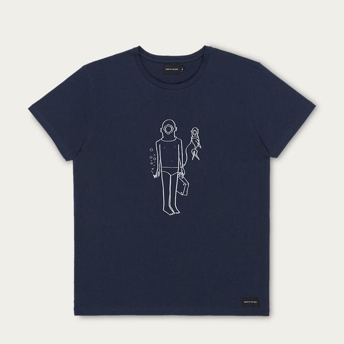 Navy Best Friends Cotton T-Shirt | Bombinate