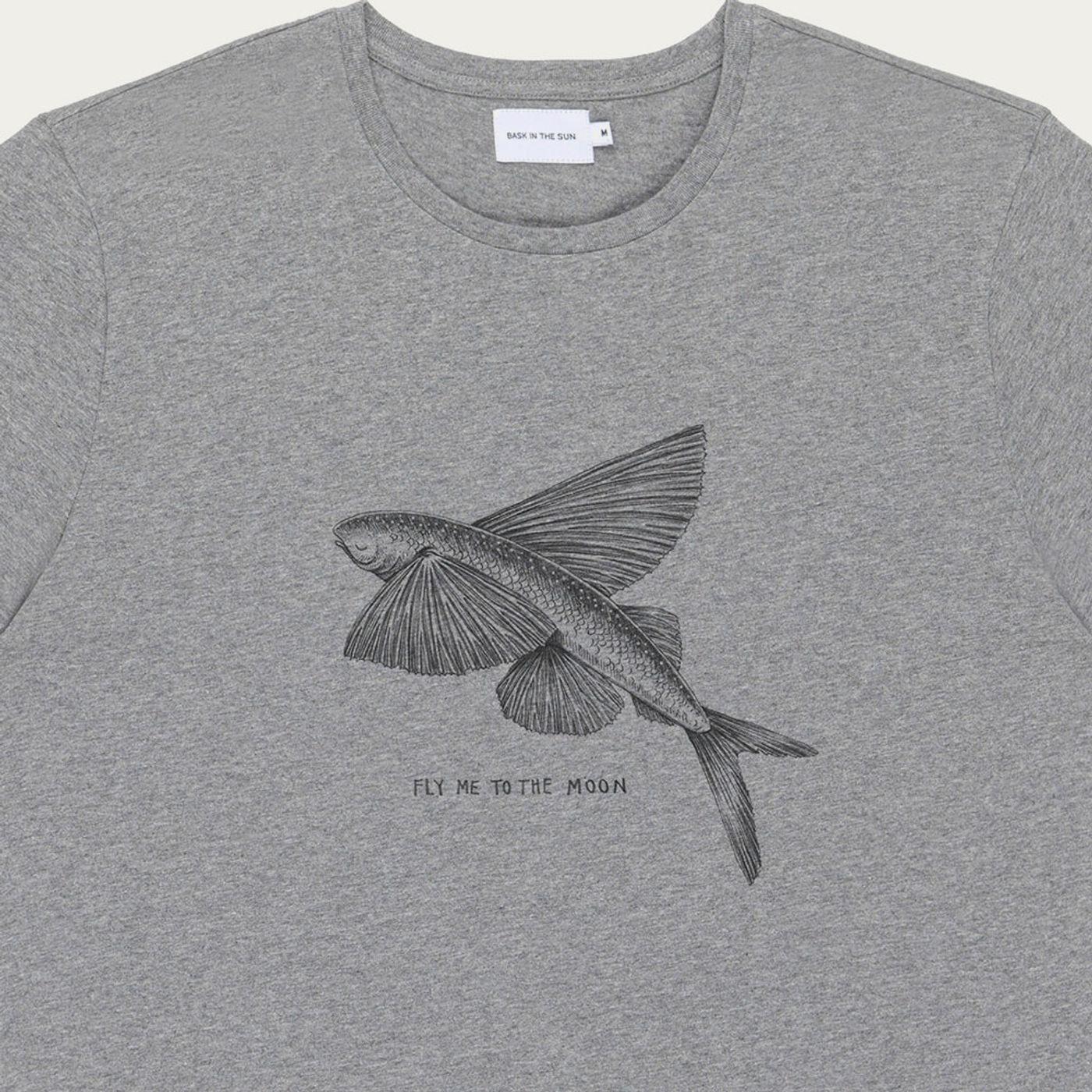 Grey Flying Fish Cotton T-Shirt | Bombinate