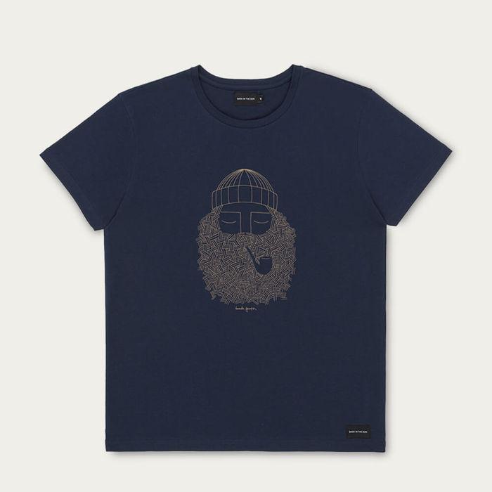 Navy Smoking Pipe Cotton T-Shirt | Bombinate