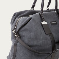 Anthracite Canvas & Black Saffiano Leather Nando Weekender | Bombinate