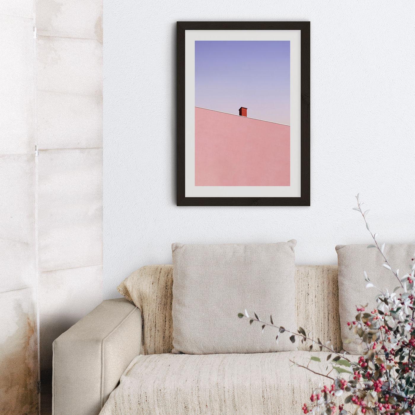Sunset Chimney Art Print Black Frame | Bombinate