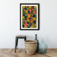 Jungle Floral Art Print Black Frame   Bombinate