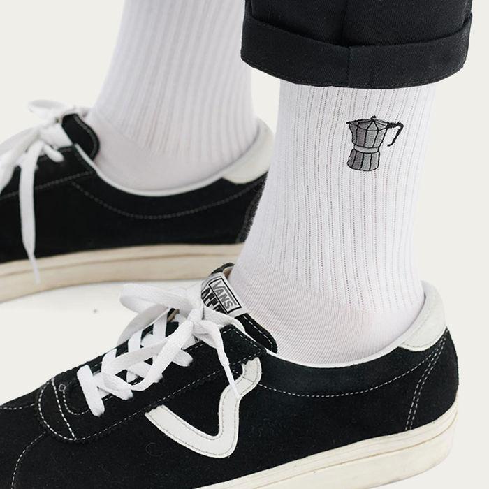White Socks | Embroidery Espresso Pot | Bombinate