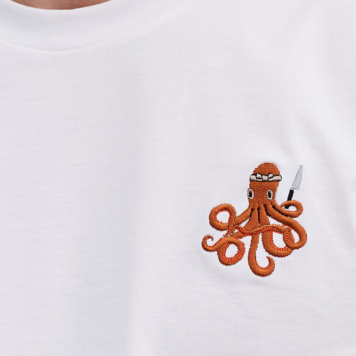 White T Shirt | Itamae Octopus | Bombinate