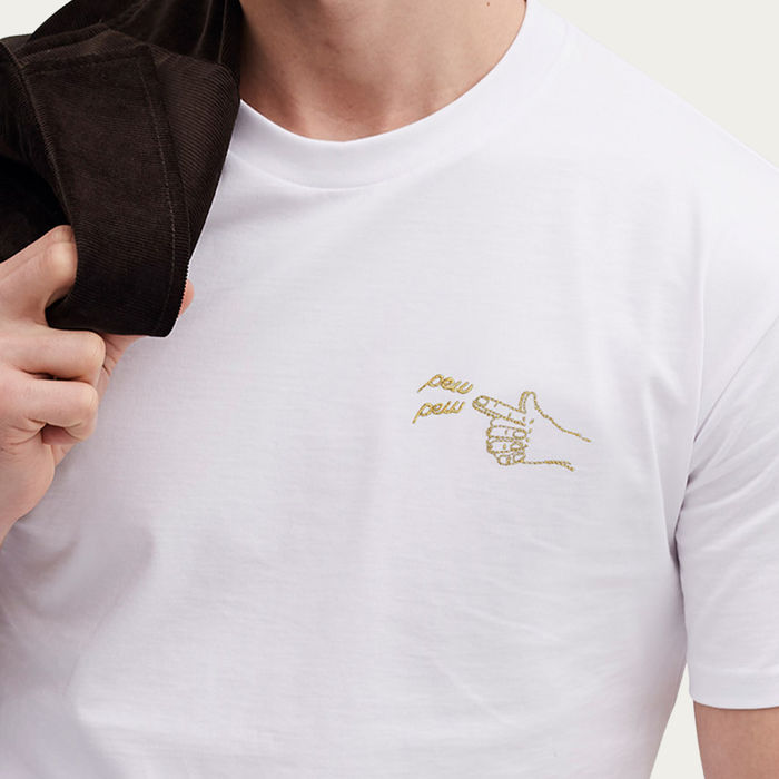 White T Shirt | Pew Pew Embroidery | Bombinate