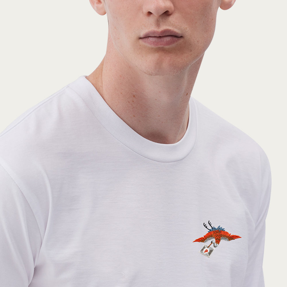 White T Shirt | Postal Crane | Bombinate