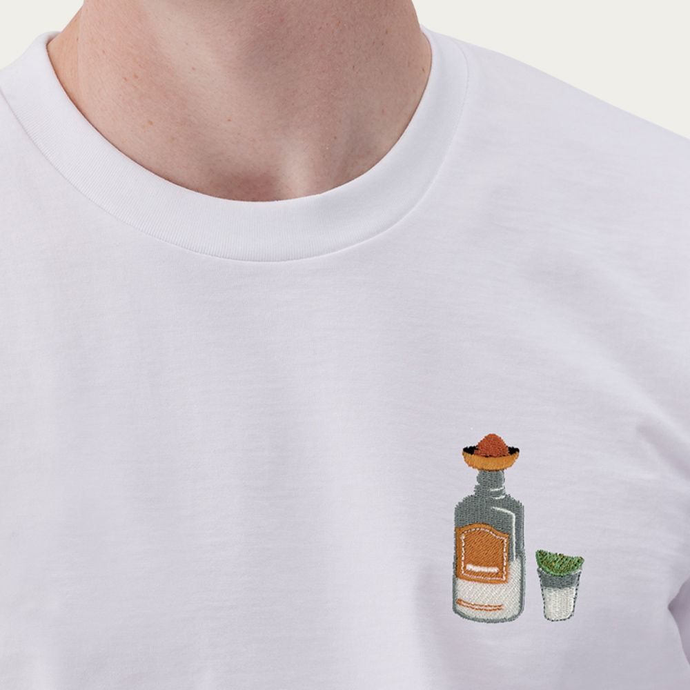 White T Shirt | Tequila Embroidery | Bombinate
