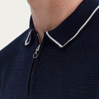 Navy Nawa Knit Polo | Stripe | Bombinate