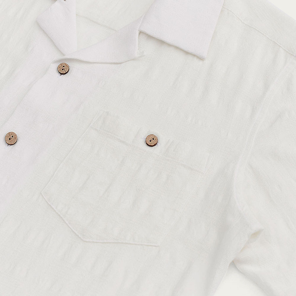 White Cuban Short Sleeve Shirt | Waffle Check | Bombinate