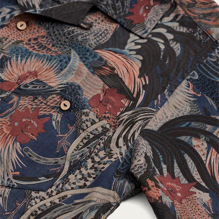 Navy Cuban Short Sleeve Shirt   Edo Rooster   Bombinate