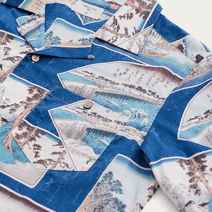 Blue Cuban Short Sleeve Shirt | Ukiyo-e Scene | Bombinate