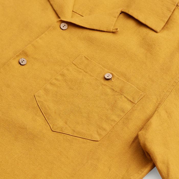 Yellow Cuban Short Sleeve Shirt | Mustard Linen | Bombinate