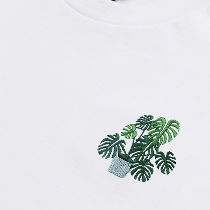 White T Shirt | Monstera Embroidery | Bombinate