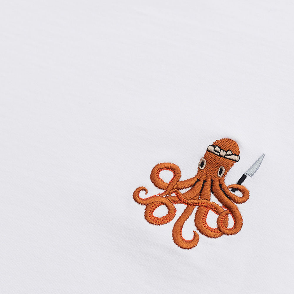 White T Shirt | Itamae Octopus | Bombinate