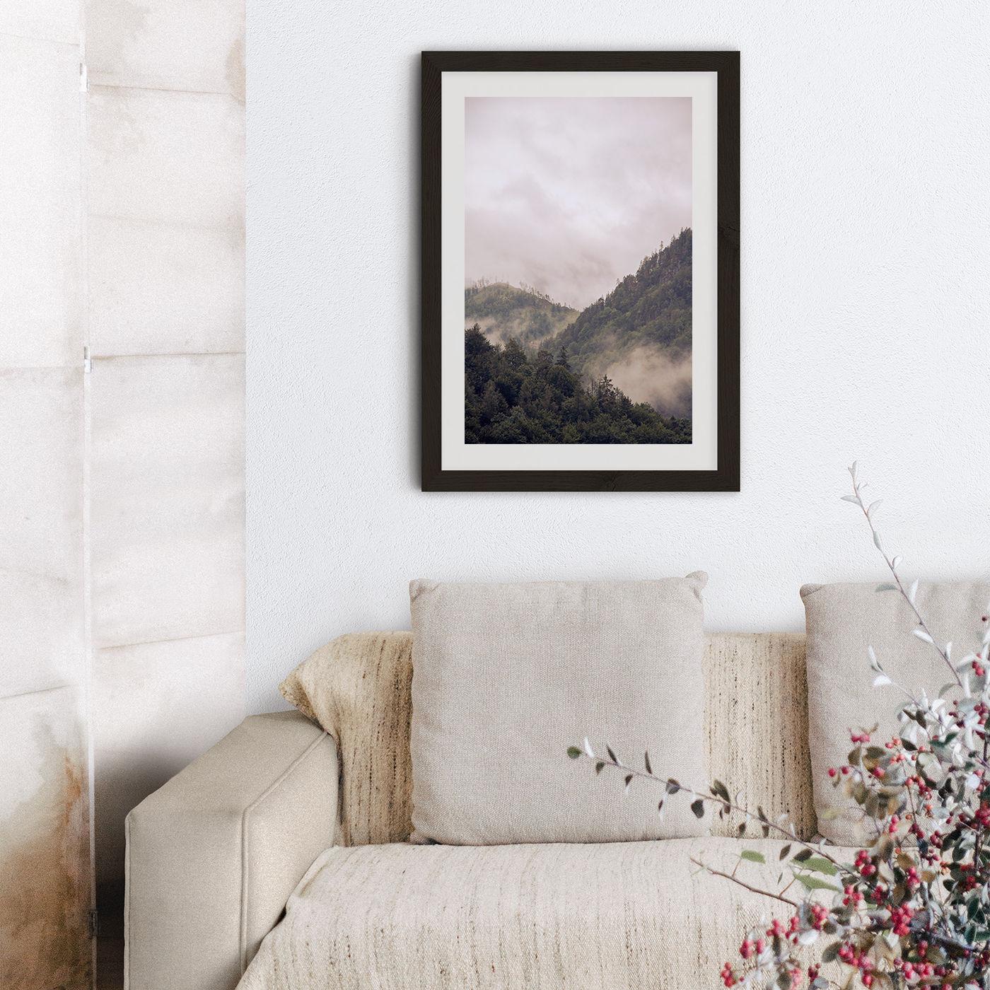 Misty Moody Woods Art Print Black Frame | Bombinate