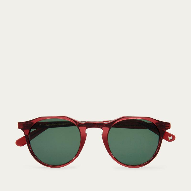 Burgundy Kallio with Green Lenses Sunglasses | Bombinate