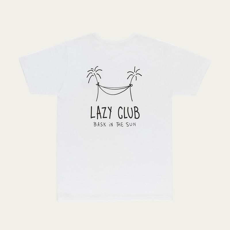 White Lazy Club Tee  | Bombinate