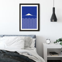Waves and Fuji San Art Print Black Frame | Bombinate