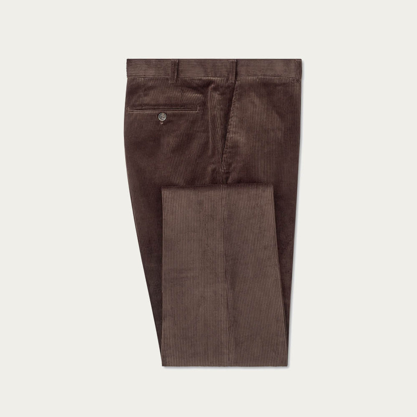 Brown Flat Front 8 Wale Corduroy Trousers | Bombinate
