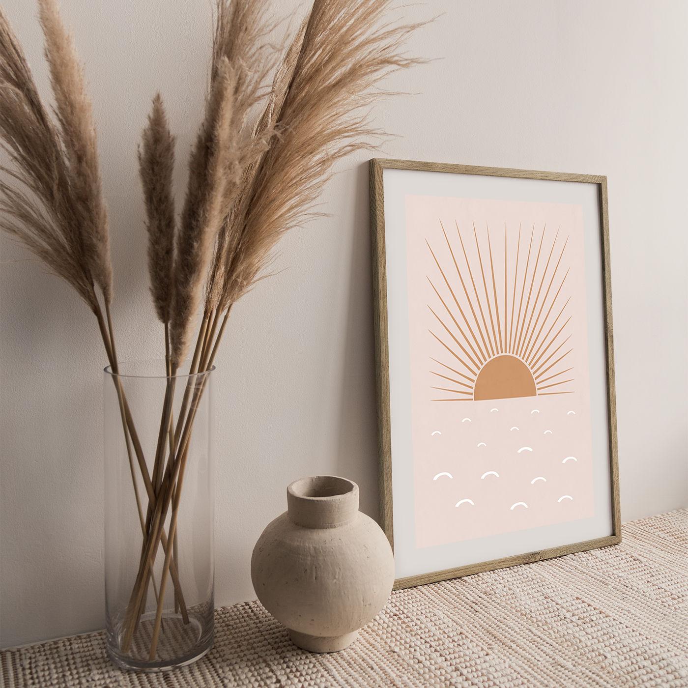 Blush Sun Art Print Oak Frame   Bombinate