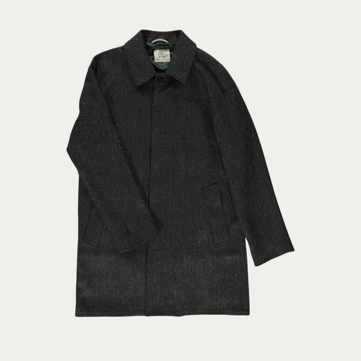 Green Black Herringbone Coutu Coat  | Bombinate