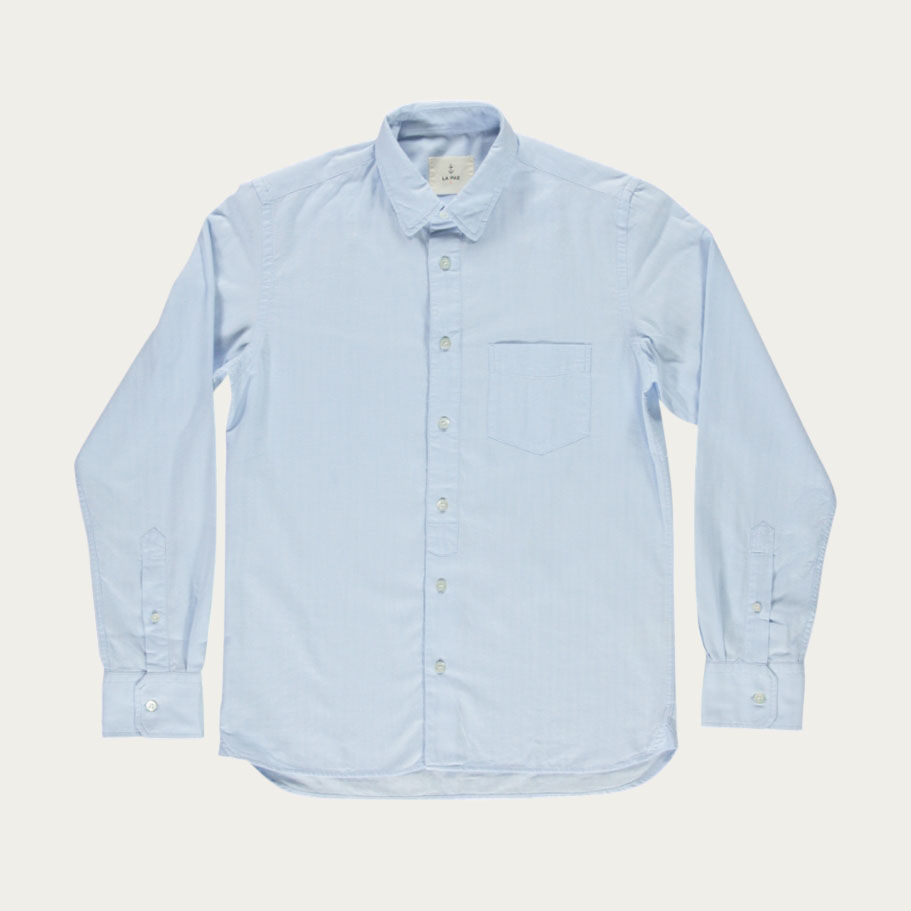 Pale Blue Herringbone Lopes Shirt | Bombinate