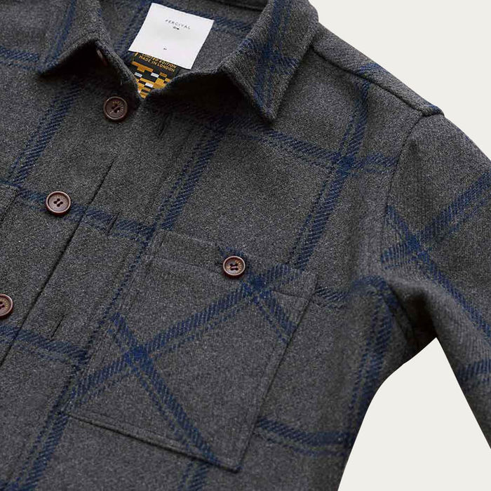 Ash Navy Plaid Flannel Workshirt | Bombinate