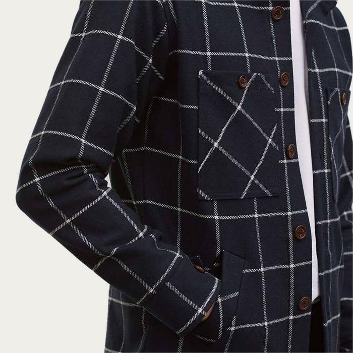Navy Windowpane Flannel Workshirt | Bombinate