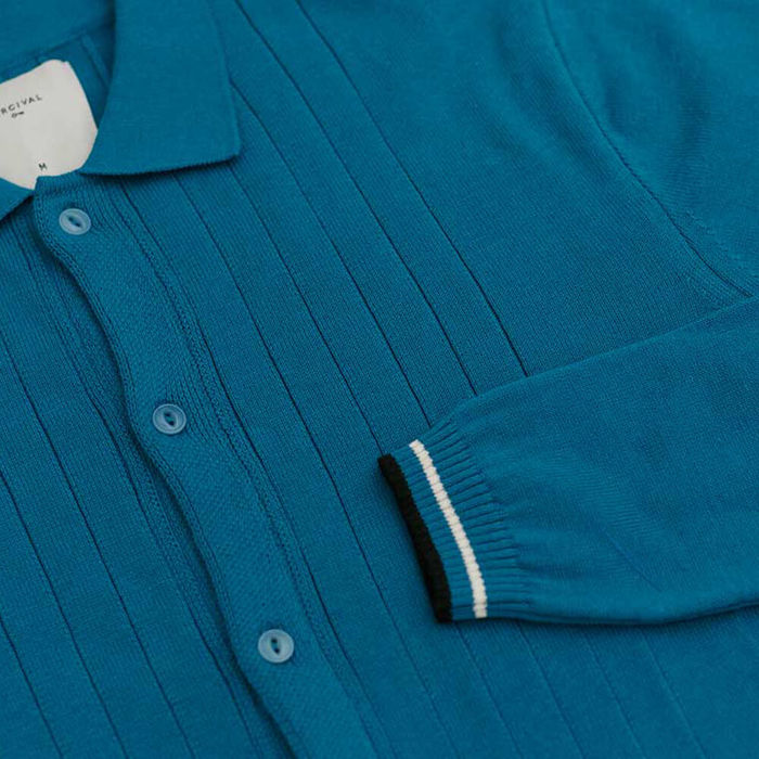 Teal Tonal Stripe Cotton Knit | Bombinate