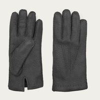 Black Ciro Peccary Leather Gloves  0