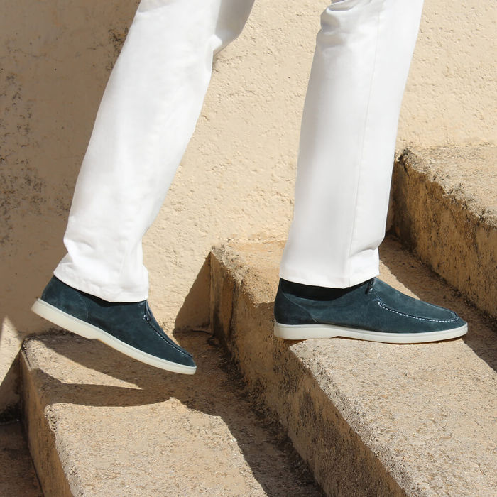 Petrol Suede Yacht Loafer | Bombinate