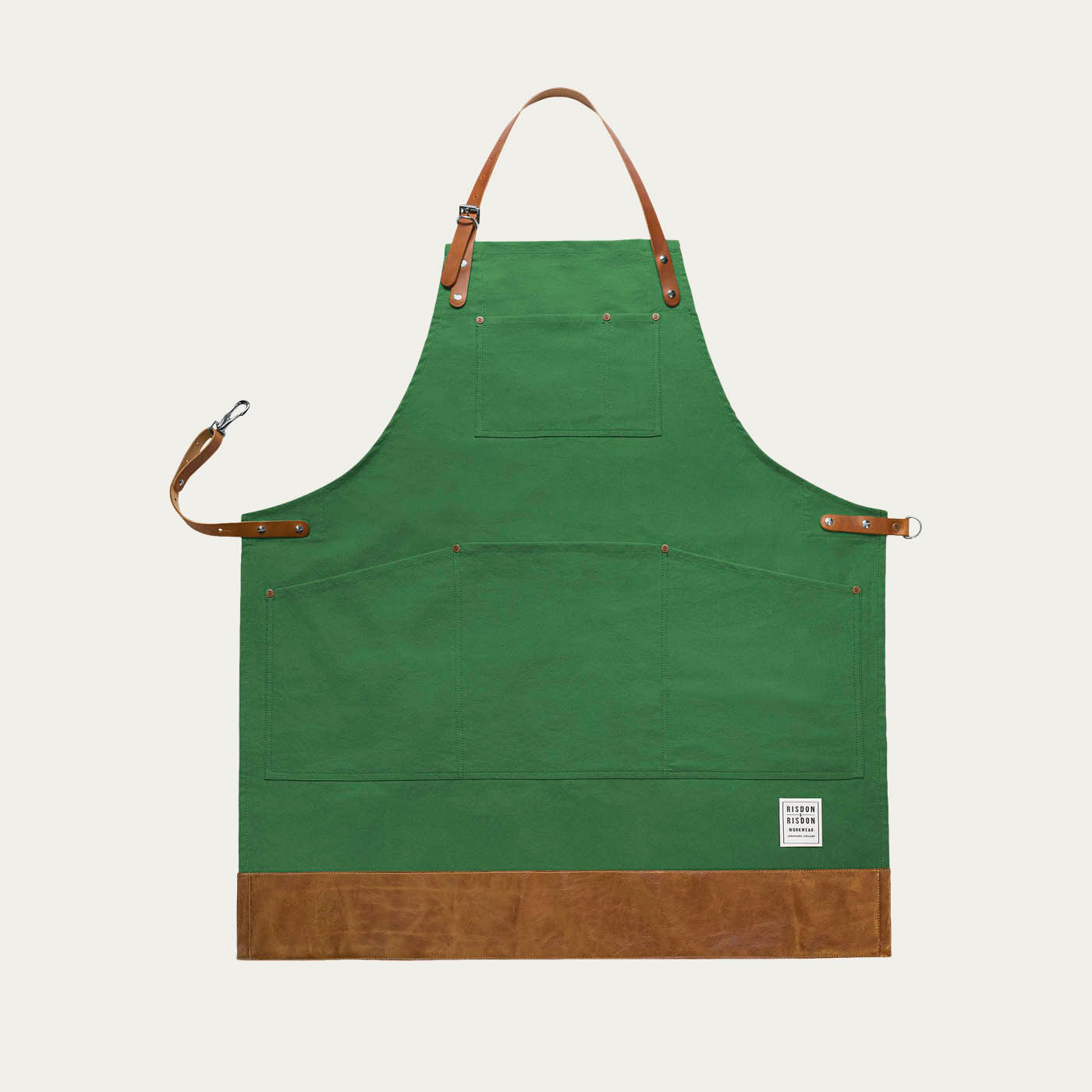 Green Leather Shropshire Trimmed Apron   | Bombinate